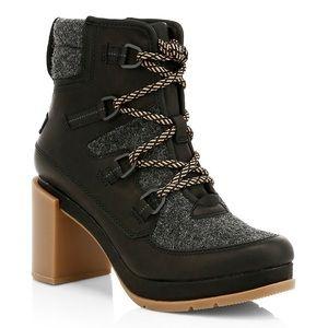 SOREL Blake Leather Felt Lace Up Ankle Boots